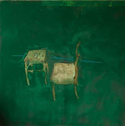 Stuhl mit Hocker, 2007, Tempera auf Leinwand, 200 x 200 cm