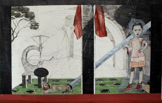 Kinderspiele: Versuch, 2013, Zeichnungscollage auf Papier, 88,5 × 140 cm