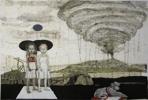 Kinderspiele (23), 2011, Zeichnungscollage auf Papier, 132 × 198 cm