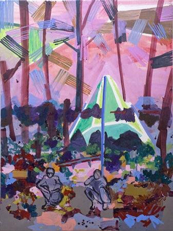 Malerei von Josephine Behlke, Exil-und-Windmühle,2010