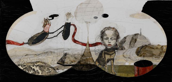 Kinderspiele, 2011–2012, Zeichnungscollage auf Papier, 93 × 193 cm